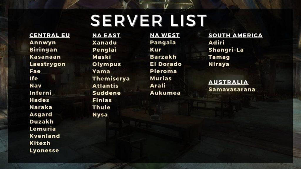 Список всех серверов открытого бета-тестирования MMORPG New World